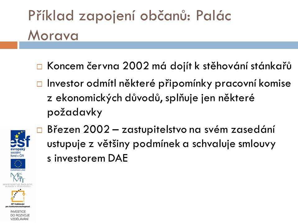 Příklad zapojení občanů: Palác Morava