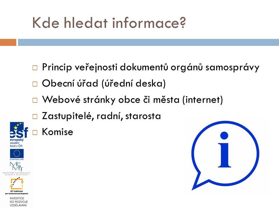 Kde hledat informace Princip veřejnosti dokumentů orgánů samosprávy