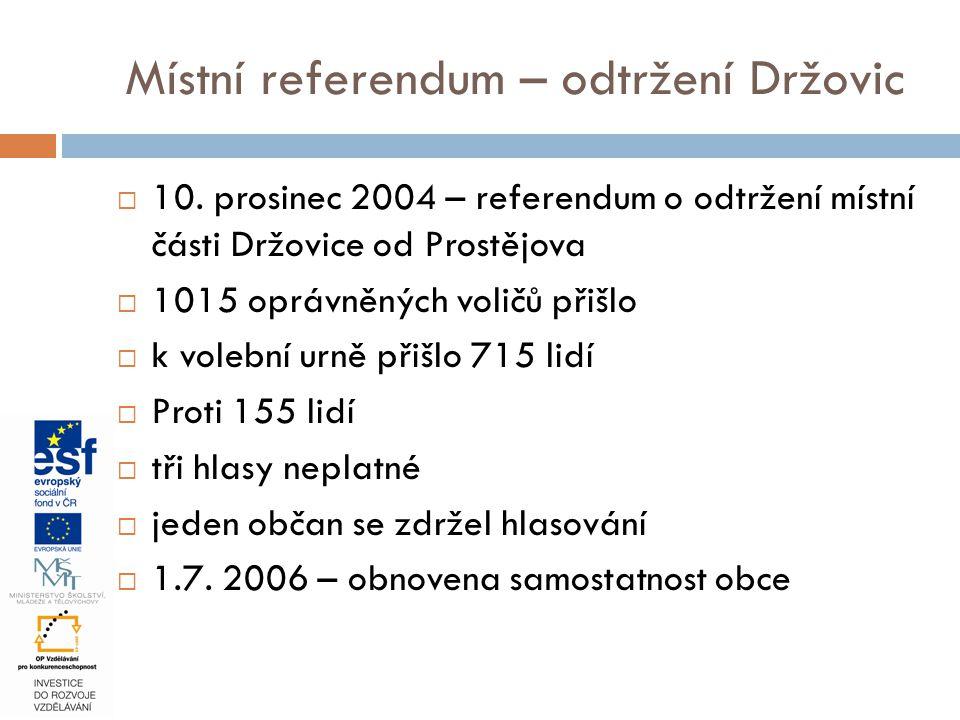 Místní referendum – odtržení Držovic