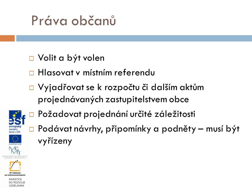 Práva občanů Volit a být volen Hlasovat v místním referendu