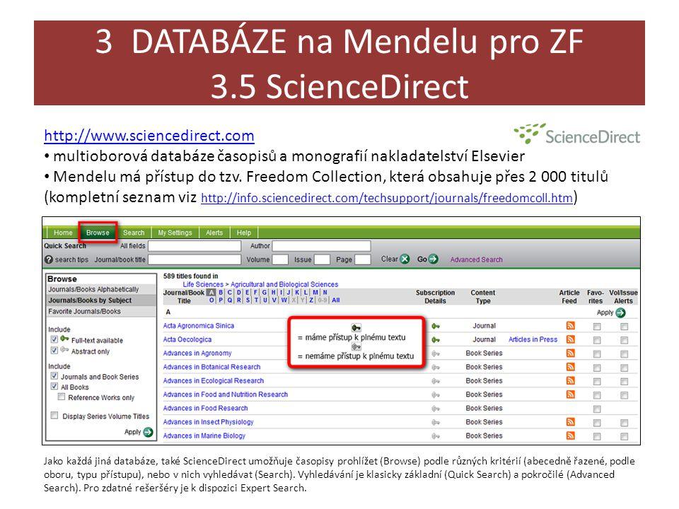 3 DATABÁZE na Mendelu pro ZF 3.5 ScienceDirect