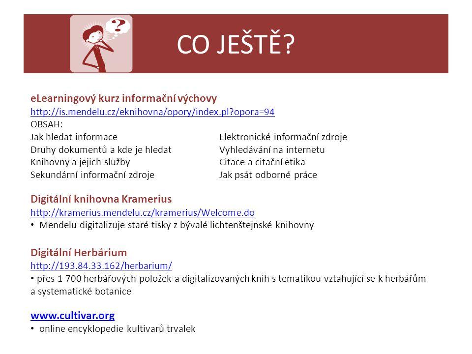 CO JEŠTĚ eLearningový kurz informační výchovy