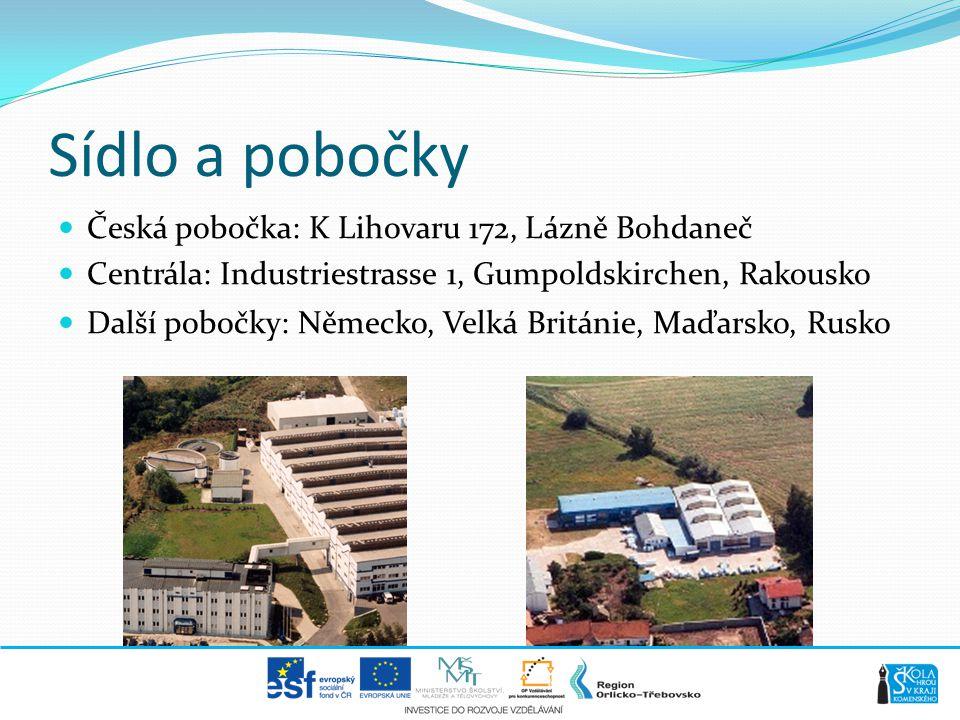 Sídlo a pobočky Česká pobočka: K Lihovaru 172, Lázně Bohdaneč