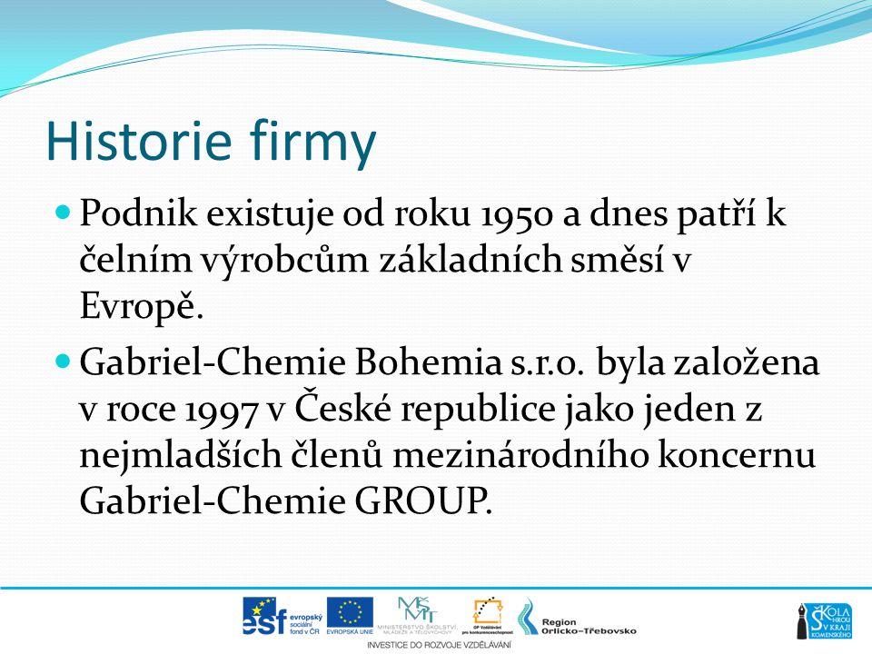 Historie firmy Podnik existuje od roku 1950 a dnes patří k čelním výrobcům základních směsí v Evropě.