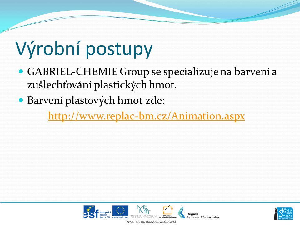 Výrobní postupy GABRIEL-CHEMIE Group se specializuje na barvení a zušlechťování plastických hmot. Barvení plastových hmot zde: