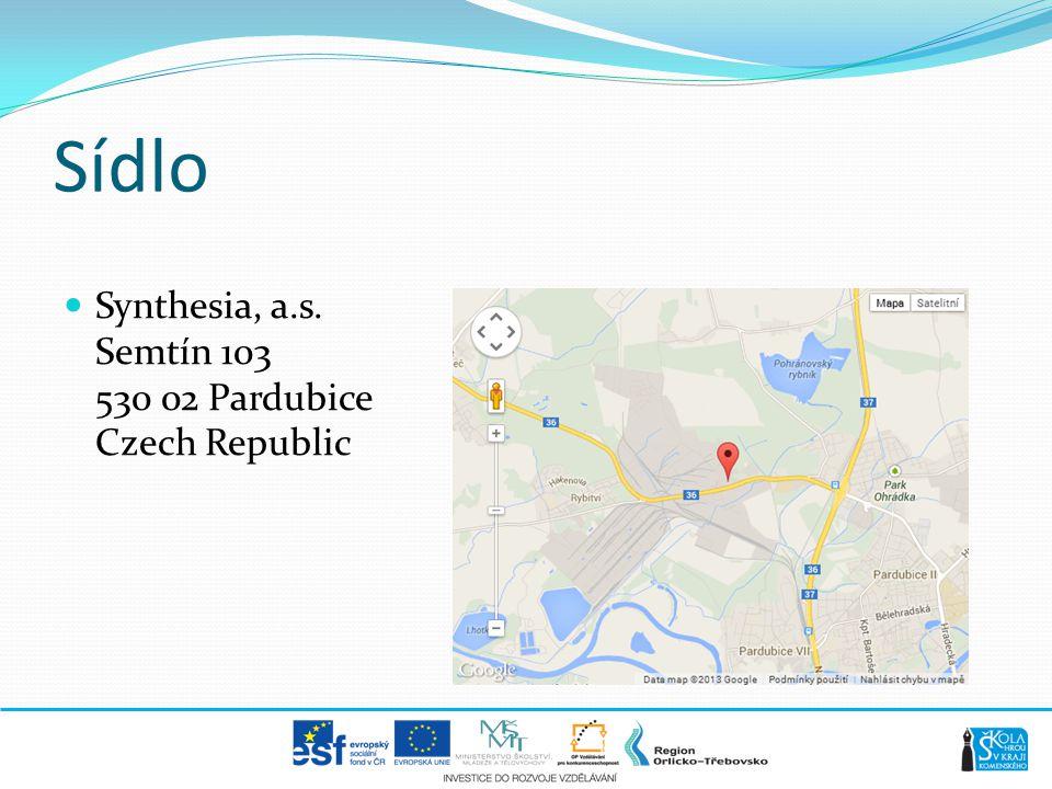 Sídlo Synthesia, a.s. Semtín 103 530 02 Pardubice Czech Republic