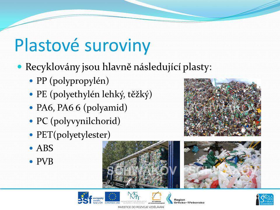 Plastové suroviny Recyklovány jsou hlavně následující plasty: