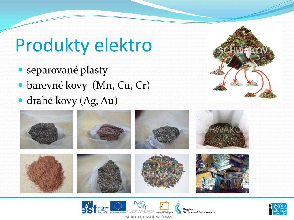 Produkty elektro separované plasty barevné kovy (Mn, Cu, Cr)