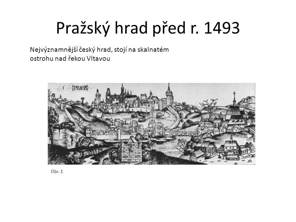 Pražský hrad před r. 1493 Nejvýznamnější český hrad, stojí na skalnatém ostrohu nad řekou Vltavou.