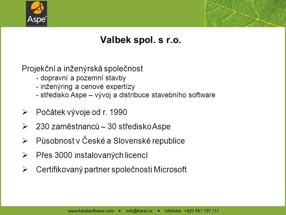 Valbek spol. s r.o. Projekční a inženýrská společnost