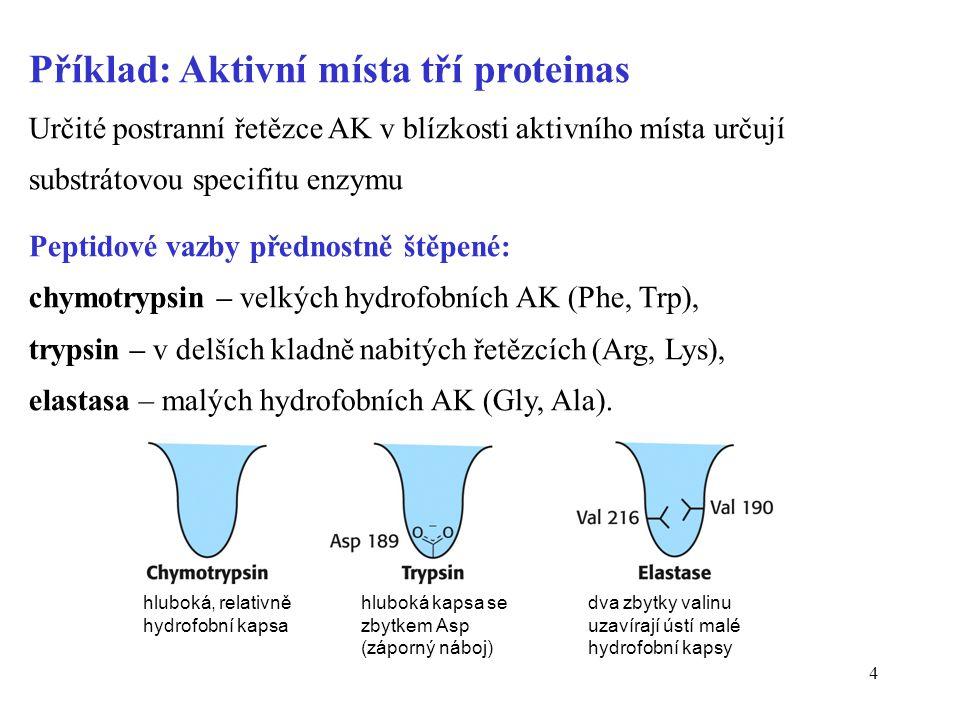 Příklad: Aktivní místa tří proteinas