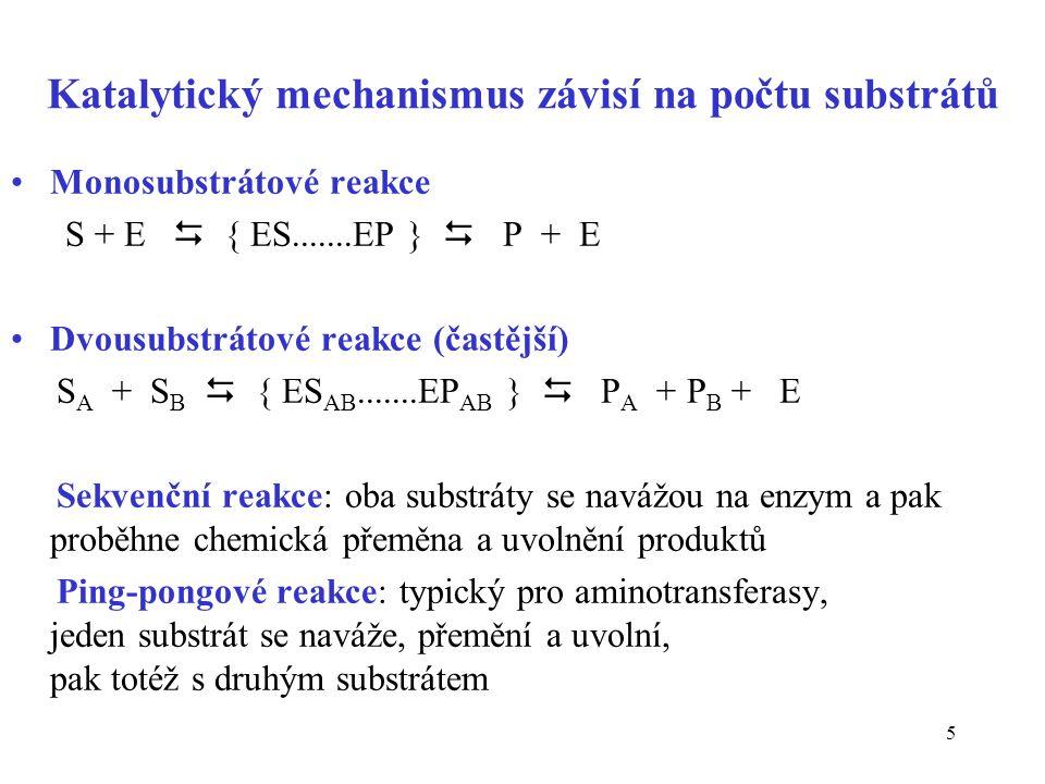 Katalytický mechanismus závisí na počtu substrátů