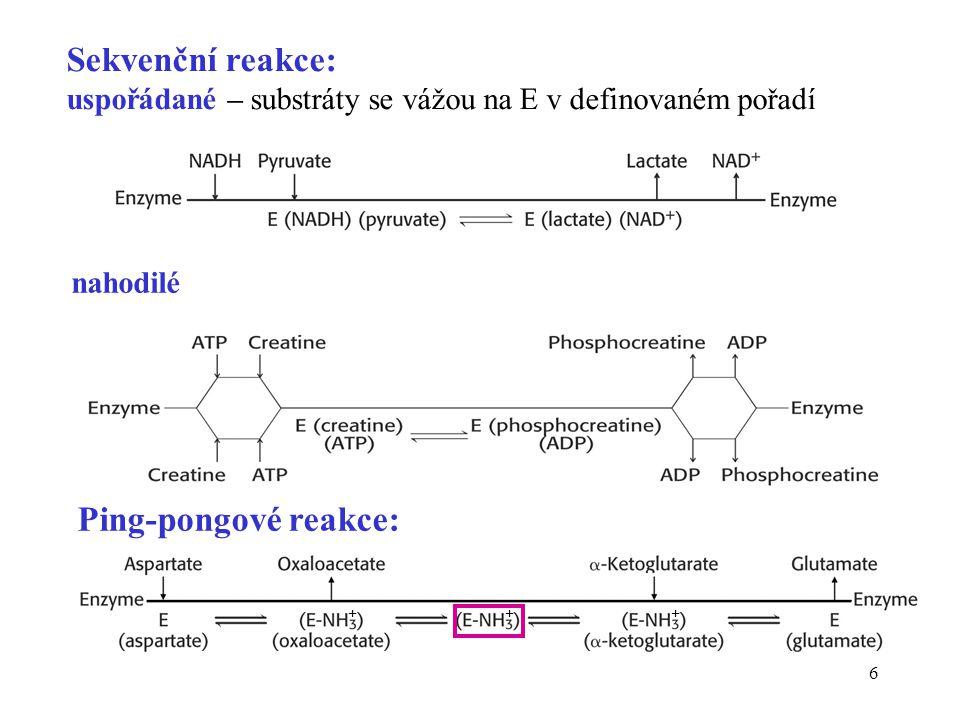 Sekvenční reakce: uspořádané – substráty se vážou na E v definovaném pořadí