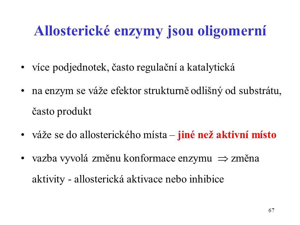 Allosterické enzymy jsou oligomerní
