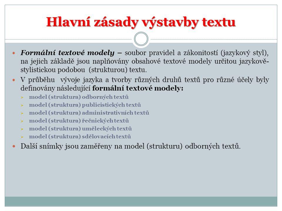 Hlavní zásady výstavby textu