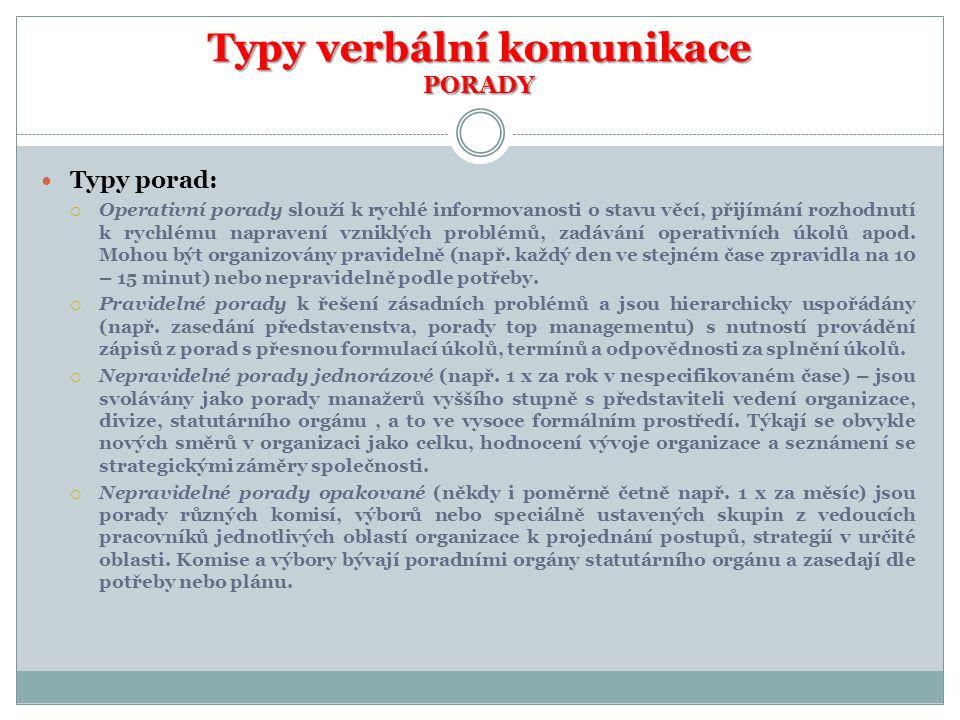 Typy verbální komunikace PORADY
