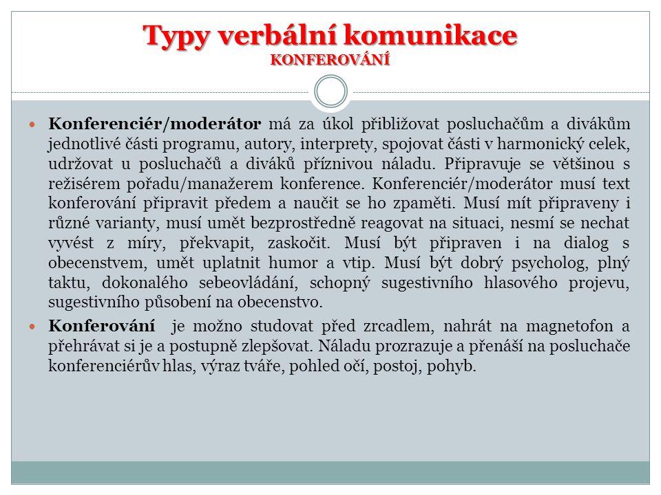 Typy verbální komunikace KONFEROVÁNÍ