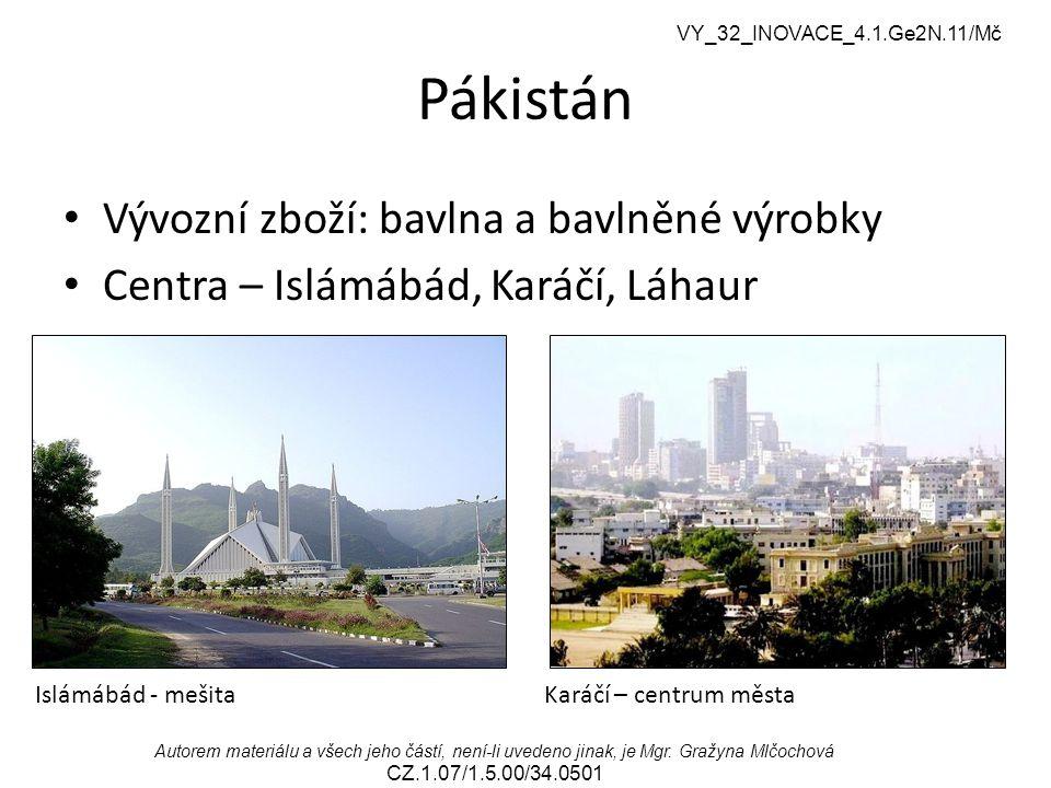 Pákistán Vývozní zboží: bavlna a bavlněné výrobky