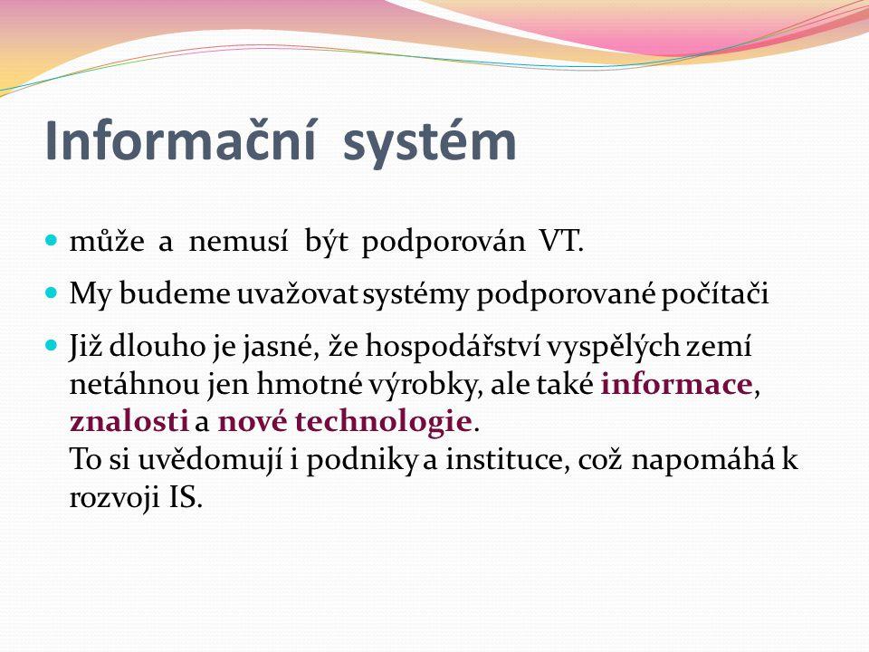 Informační systém může a nemusí být podporován VT.