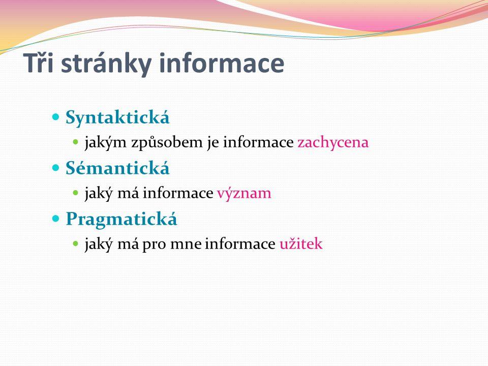 Tři stránky informace Syntaktická Sémantická Pragmatická