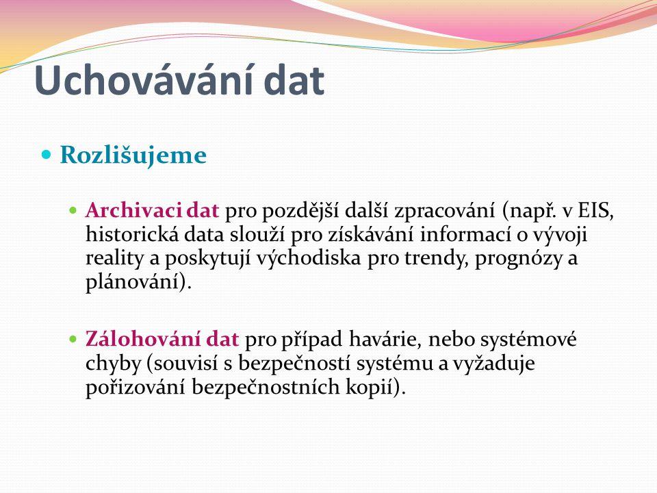 Uchovávání dat Rozlišujeme