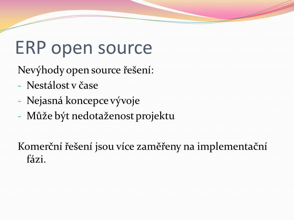 ERP open source Nevýhody open source řešení: Nestálost v čase