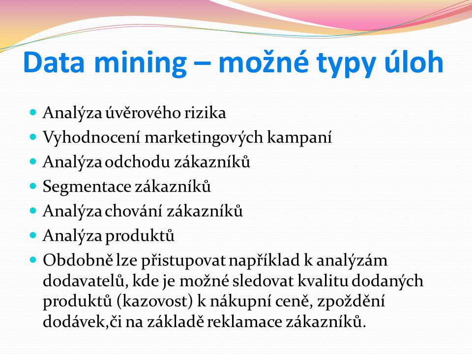 Data mining – možné typy úloh