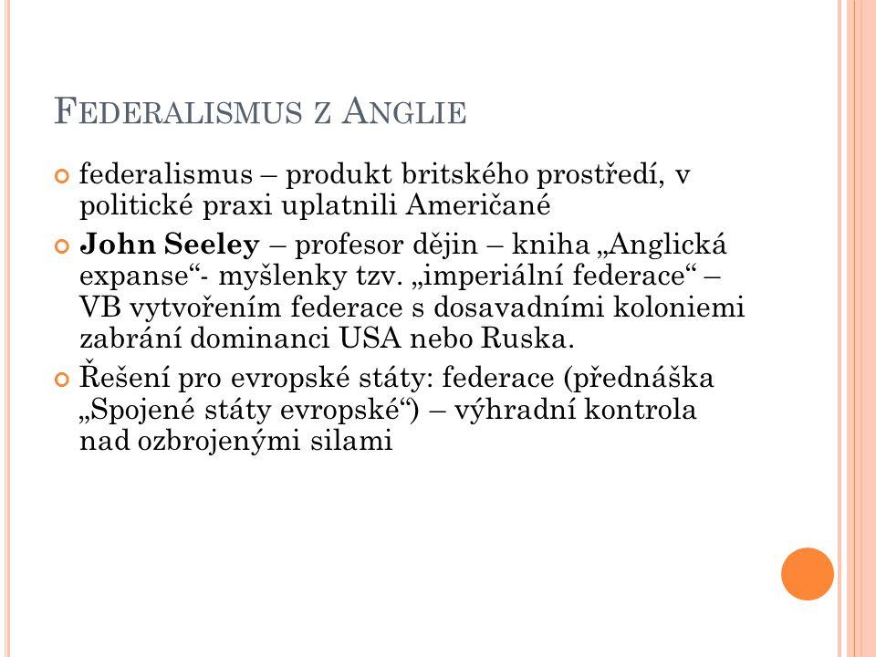 Federalismus z Anglie federalismus – produkt britského prostředí, v politické praxi uplatnili Američané.