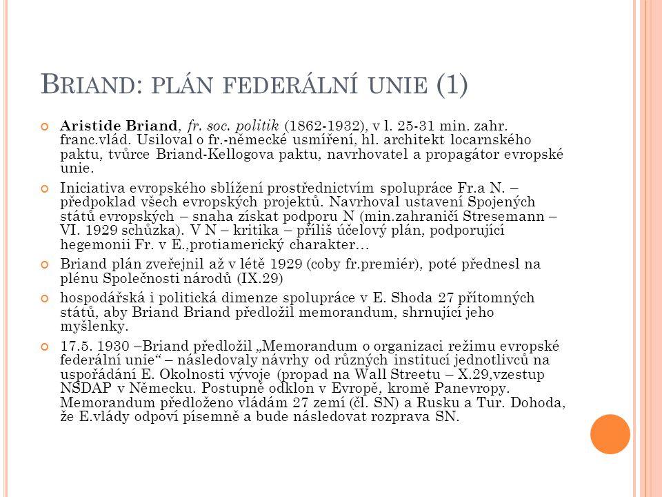 Briand: plán federální unie (1)