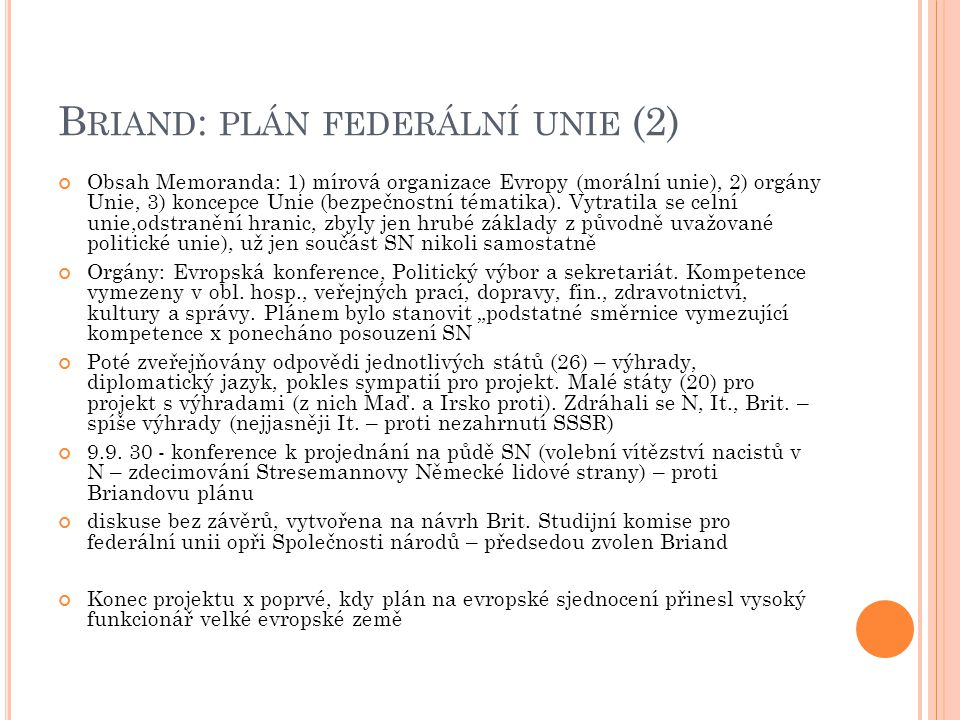 Briand: plán federální unie (2)