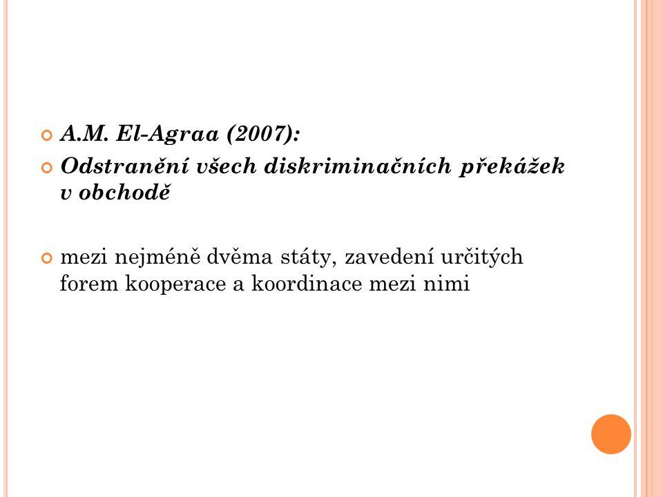 A.M. El-Agraa (2007): Odstranění všech diskriminačních překážek v obchodě.