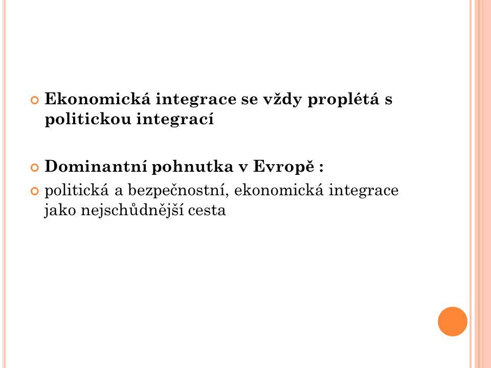 Ekonomická integrace se vždy proplétá s politickou integrací
