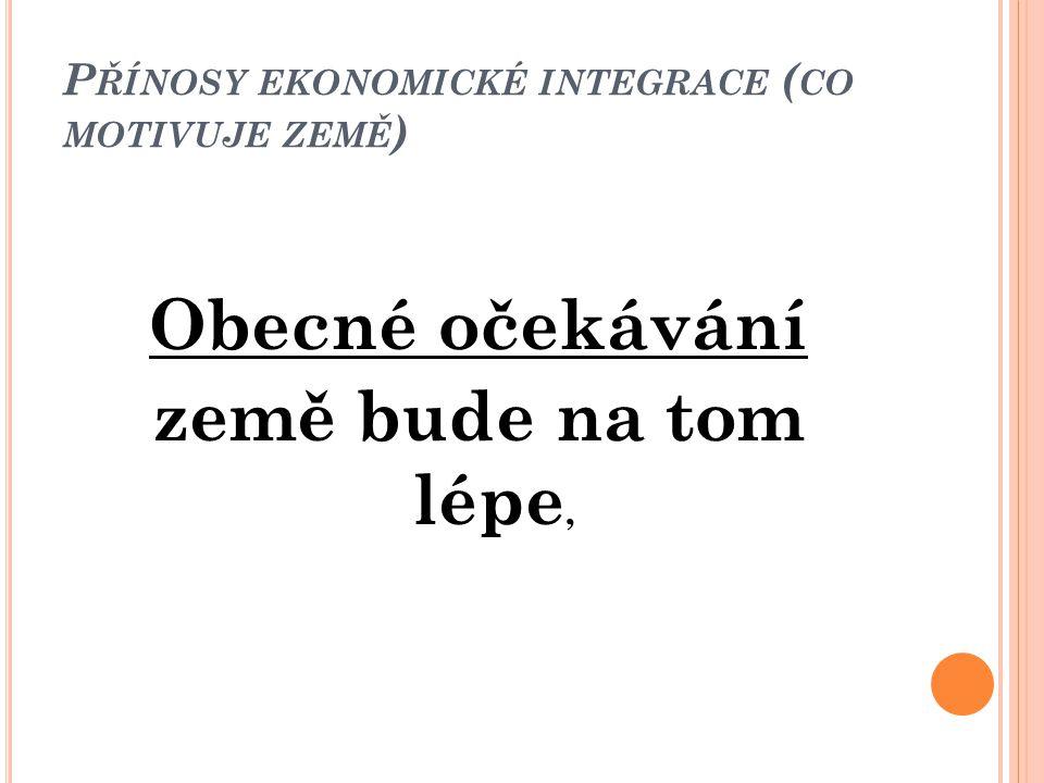 Přínosy ekonomické integrace (co motivuje země)