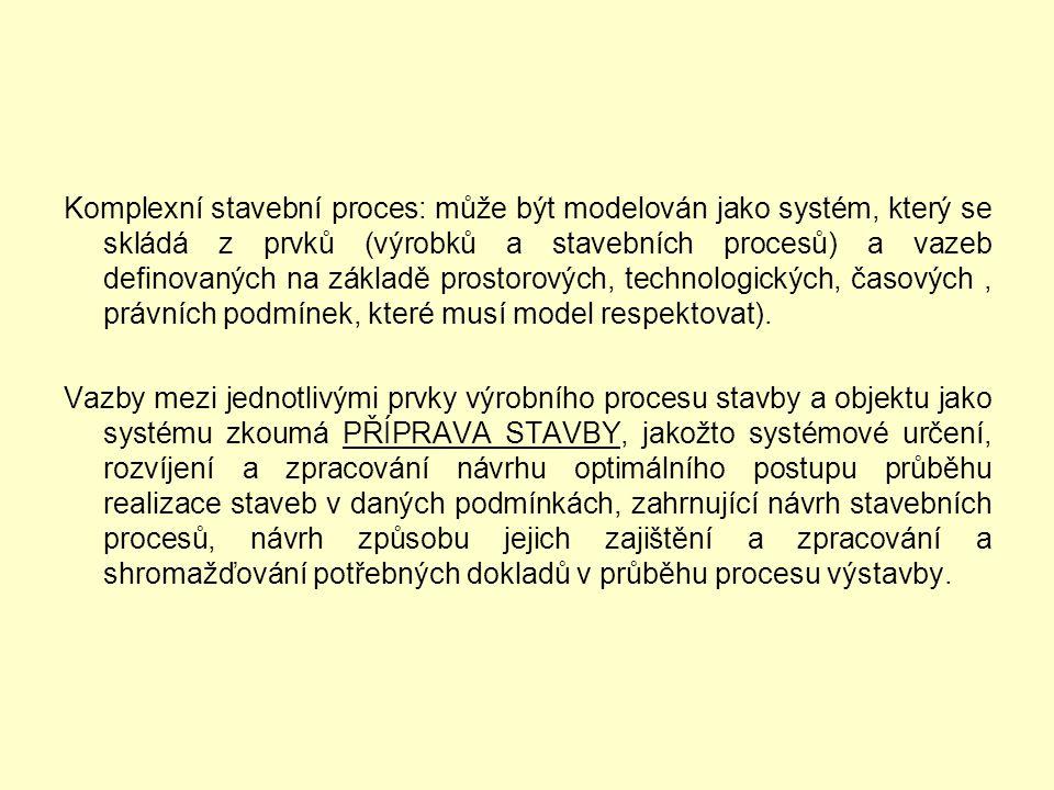 Komplexní stavební proces: může být modelován jako systém, který se skládá z prvků (výrobků a stavebních procesů) a vazeb definovaných na základě prostorových, technologických, časových , právních podmínek, které musí model respektovat).