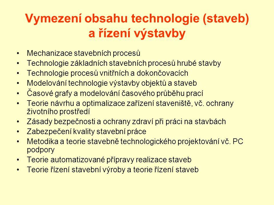 Vymezení obsahu technologie (staveb) a řízení výstavby