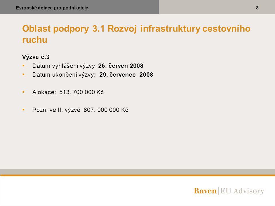 Oblast podpory 3.1 Rozvoj infrastruktury cestovního ruchu