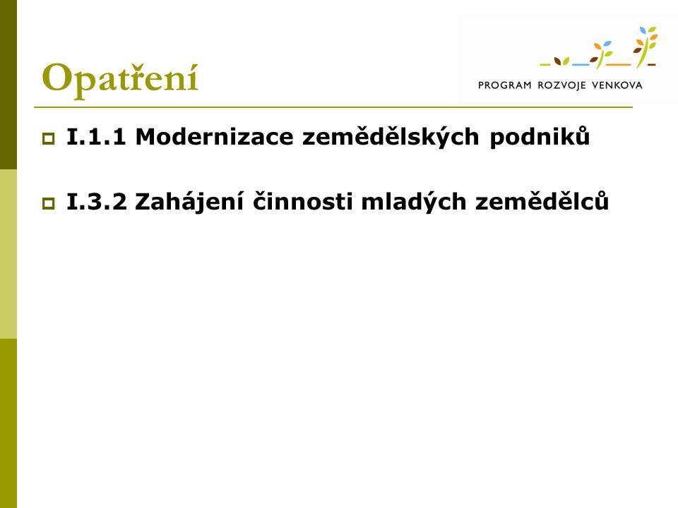 Opatření I.1.1 Modernizace zemědělských podniků