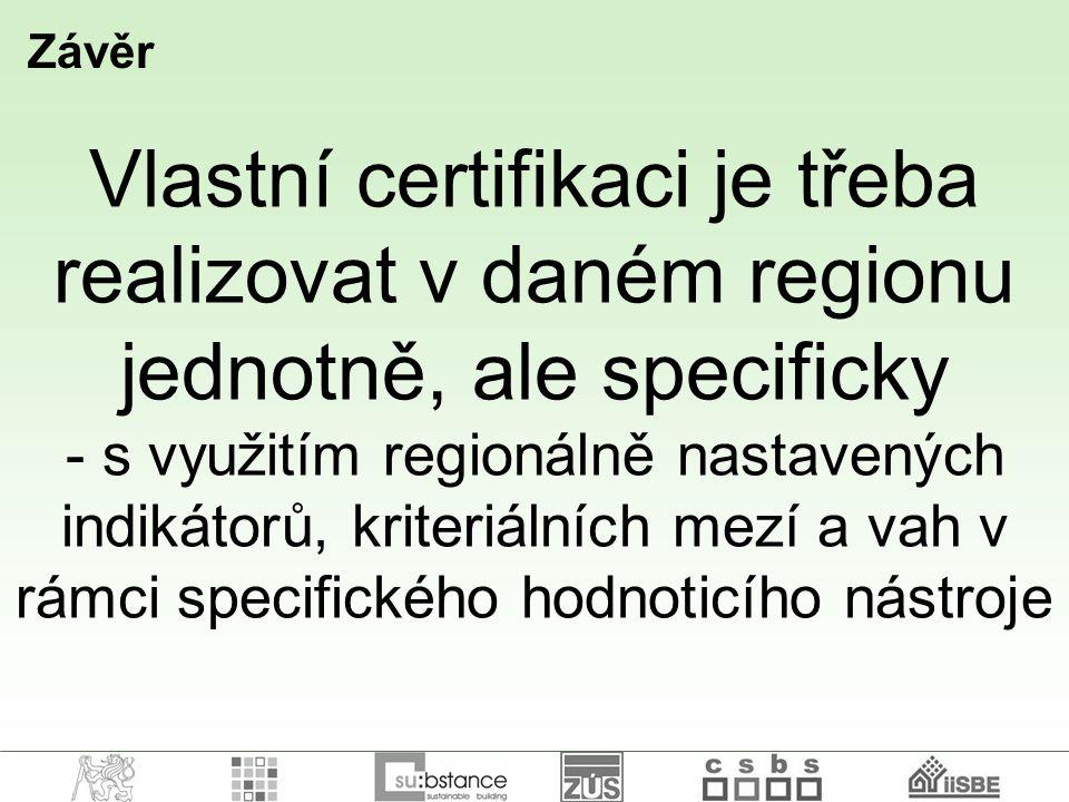 Závěr Vlastní certifikaci je třeba realizovat v daném regionu jednotně, ale specificky.