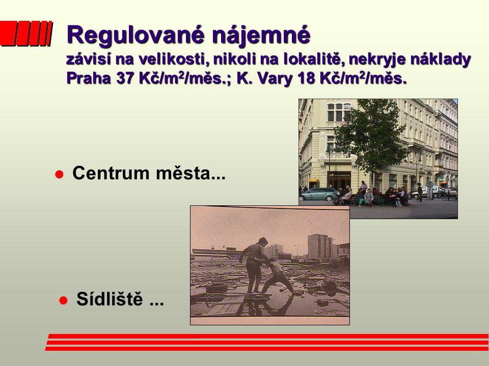 Regulované nájemné závisí na velikosti, nikoli na lokalitě, nekryje náklady Praha 37 Kč/m2/měs.; K. Vary 18 Kč/m2/měs.