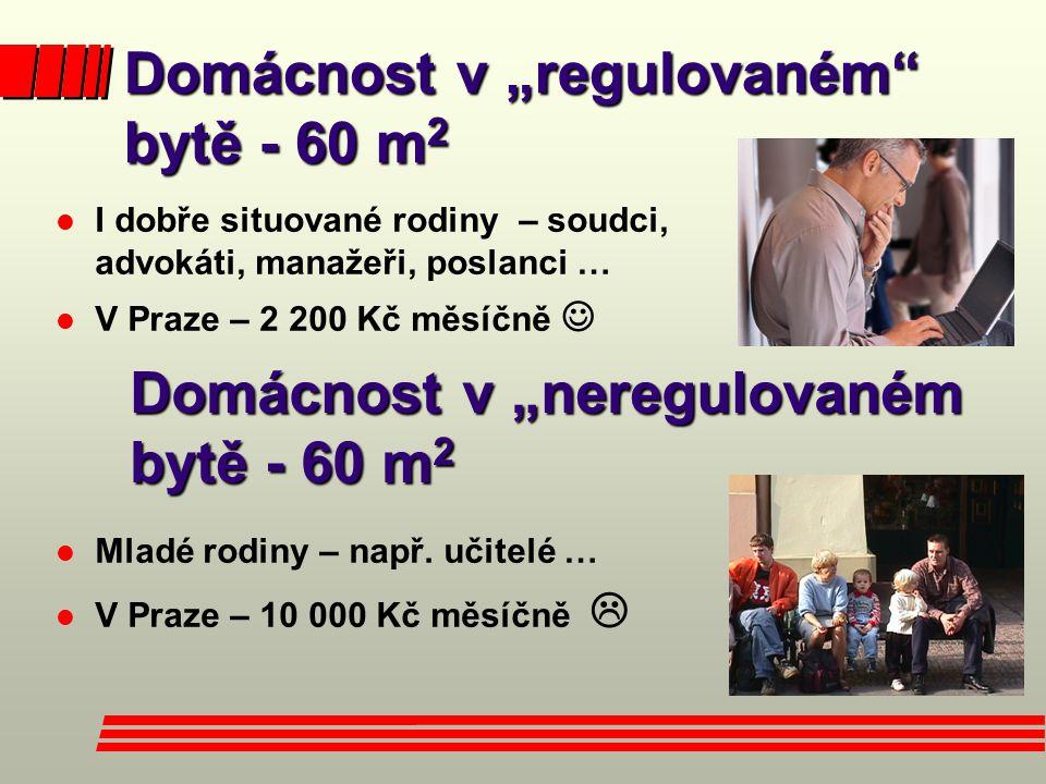 """Domácnost v """"regulovaném bytě - 60 m2"""