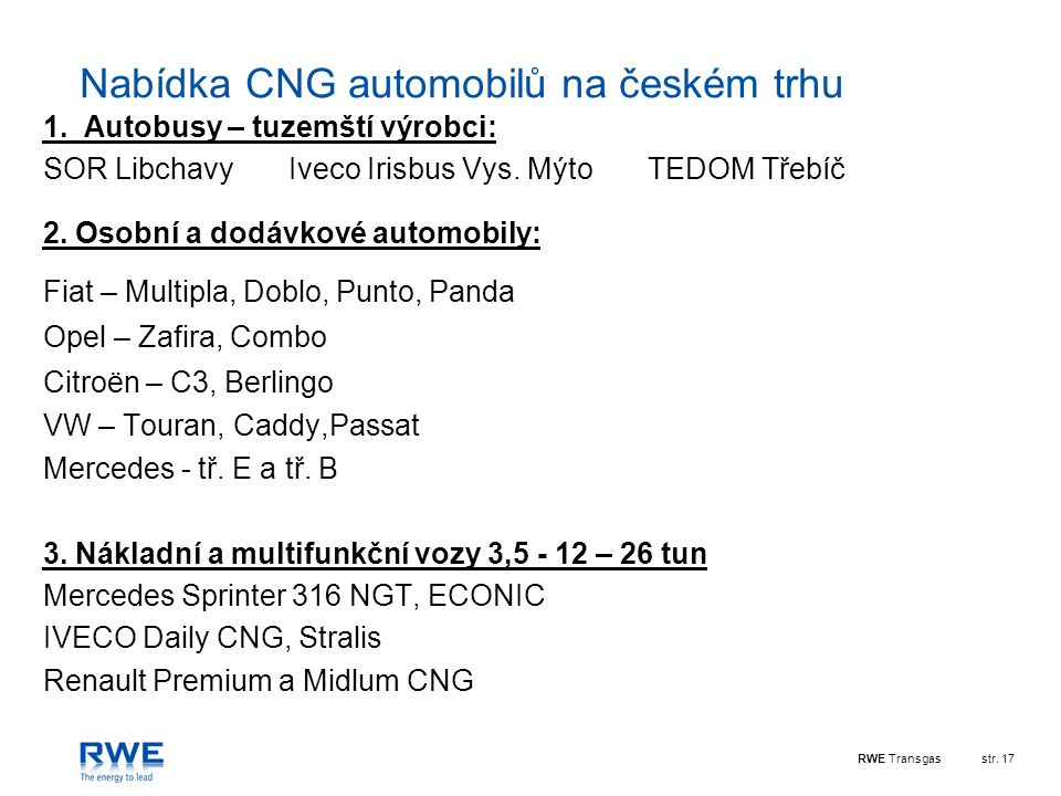 Nabídka CNG automobilů na českém trhu
