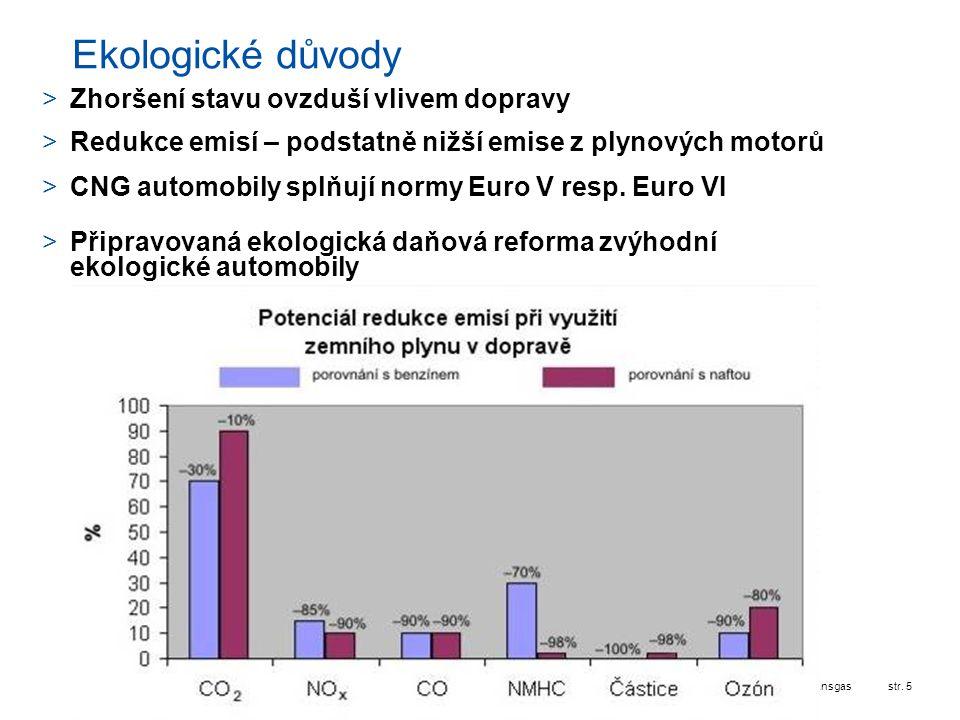 Ekologické důvody Zhoršení stavu ovzduší vlivem dopravy