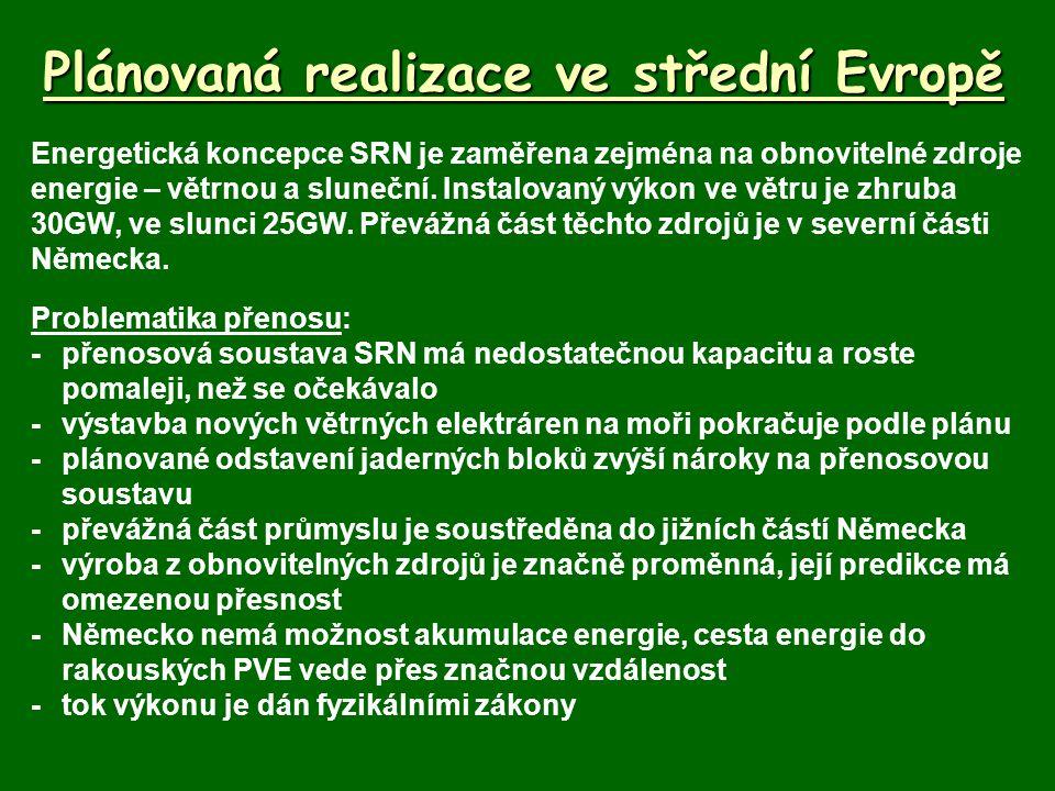 Plánovaná realizace ve střední Evropě