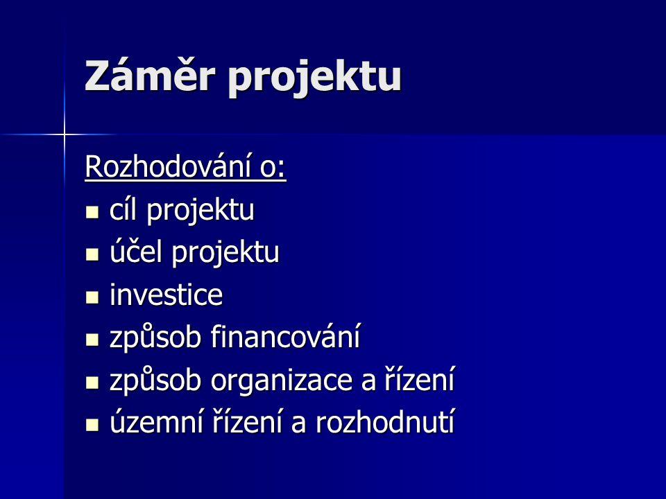 Záměr projektu Rozhodování o: cíl projektu účel projektu investice