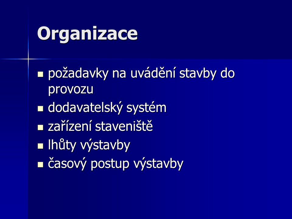 Organizace požadavky na uvádění stavby do provozu dodavatelský systém