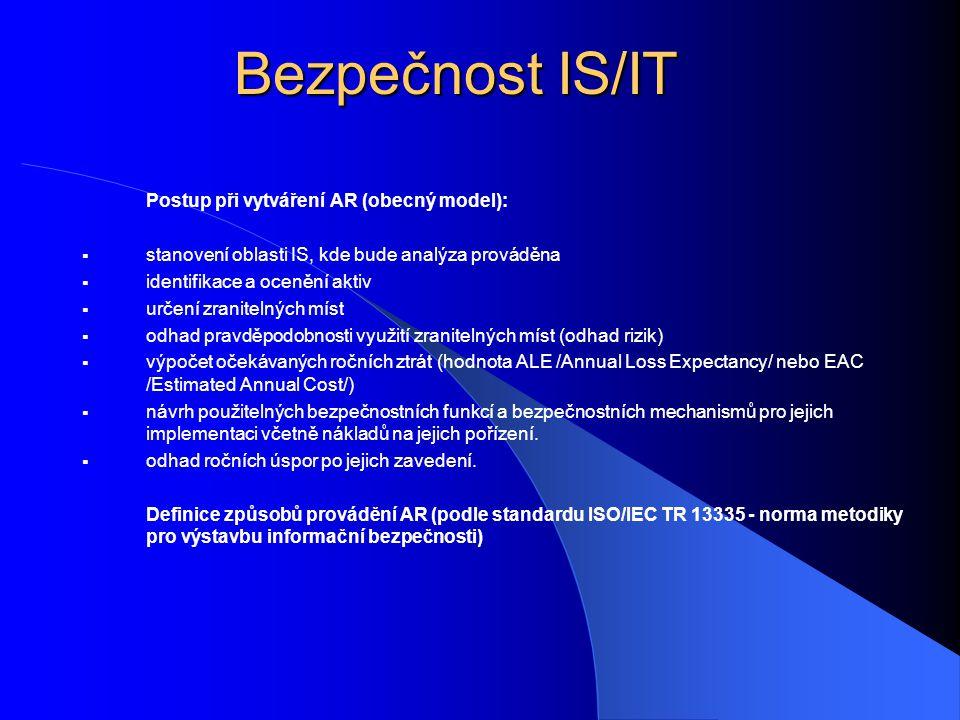 Bezpečnost IS/IT Postup při vytváření AR (obecný model):