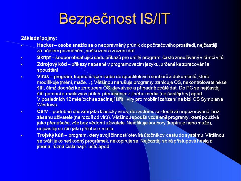 Bezpečnost IS/IT Základní pojmy: