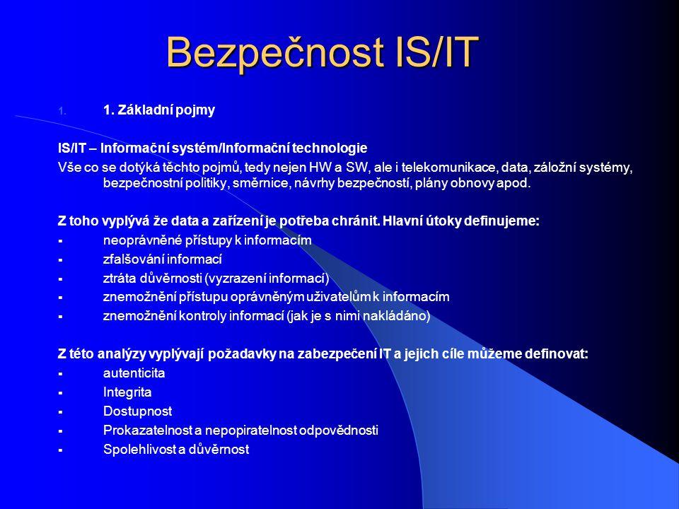Bezpečnost IS/IT 1. Základní pojmy