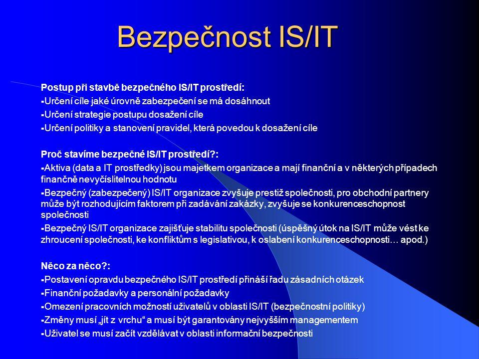Bezpečnost IS/IT Postup při stavbě bezpečného IS/IT prostředí: