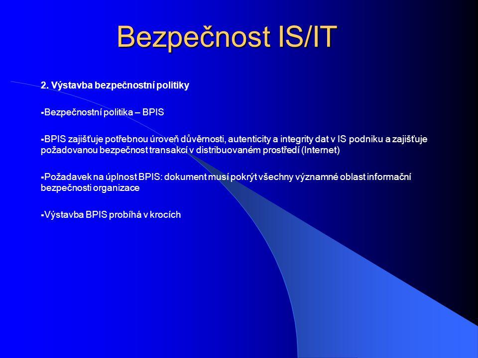 Bezpečnost IS/IT 2. Výstavba bezpečnostní politiky